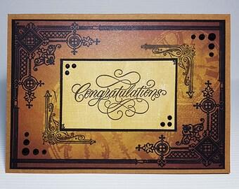 Handmade Congratulations Card, Handstamped Card, Vintage Style Congratulations Card, Brown Handmade Card, Card For Him, OOAK Card
