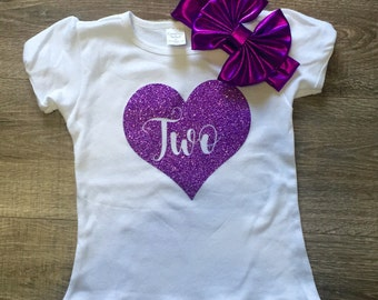 FREE SHIPPING! Girls 2nd Birthday Shirt, Personalized Birthday Shirt, Two shirt, Purple Birthday Shirt