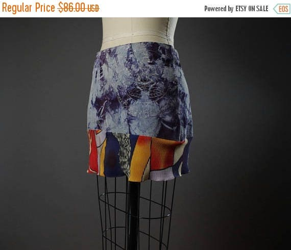 SUMMER SALE Dyed Suede Summer Skirt - OOAK Summer Skirt - Eco-friendly Mini Skirt - Women's Summer Skirt - Eco-friendly Clothing