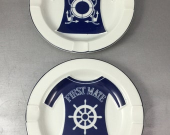 Vintage captain and First Mate Ashtrays Raised Graphic 1960s