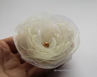 Bridal Ivory Hair Clip, Ecru Organza Wedding Flower