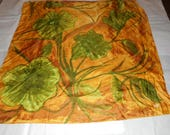 RESERVED for chkdesign - Scarf, Vintage, Liberty of London, Made in England, Organic Shapes, Leaves, Green, Gold, Silk Blend, Square