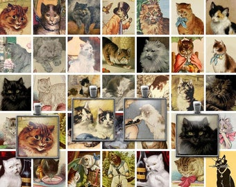 Digital Clip Art Vintage Victorian Cats Collage Sheet - 1x1 Inch squares -  Inchies -  JPG - PDF - Instant Download - Downloadable - Cu use