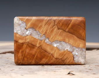 Exotic Wood and Mother of Pearl Inlaid Belt Buckle - Handmade