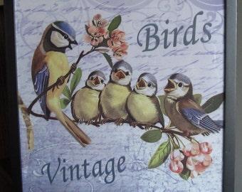 Birds,vintage, framed fabric, home & living, gift idea