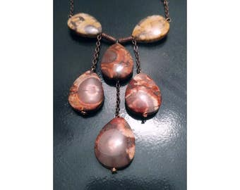 Copper Chain Red/Yellow Earth Stone Necklace