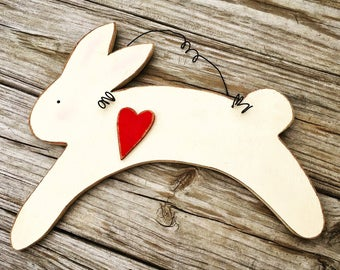Spring Decor Wood Bunny Door Hanger | Easter Decor Wooden Bunny Door Hanger | Primitive Rabbit | Primitive Heart | Farmhouse Rustic Vintage