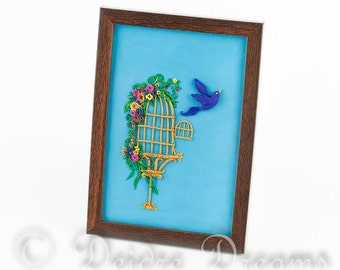 Birdcage Shadow Box, Flower Shadow Box, Inspirational Art, Birdcage Art, Bird Art, Bird Shadow Box, Vintage Design Decor, Motivational Art