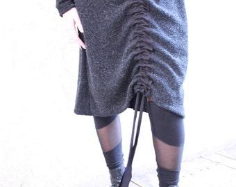 Sweater Dress, Winter Dress, Long Sleeve, Dark Grey Dress, Turtleneck, Wool dress, Adjustable Dress, Convertible Dress