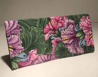 Fabric Checkbook Cover - Purple And Pink Hibiscus Flowers with Dark Purple Interior