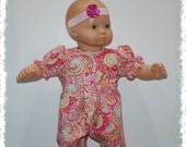"""Short Sleeve 1-Piece Jumpsuit  (Bitty Baby 15"""" Doll)"""
