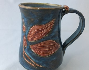 Blue Coffee Mug with Red Butterfly (003)