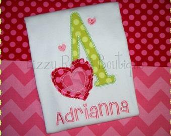 Girls Valentine's Day Embroidered Shirt- Valentine's monogram- Valentine's Day- Holiday- Vday shirt- Heart- Girls Valentine's applique shirt