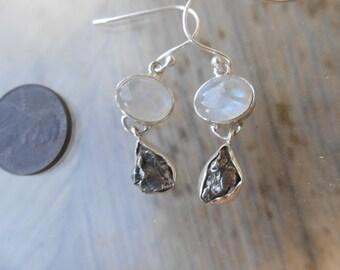 Moonstone Meteorite Silver Wrapped Earrings
