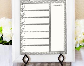Dry Erase Menu Board - Weekly Menu Printable - Menu Planner - Dinner Menu Board - Kitchen Printable - Kitchen Decor - Gray Kitchen Print