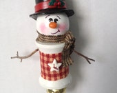 Handmade Spool Snowman Ornament