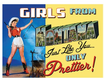 Montana Pin Up Girl Print Girls from Montana