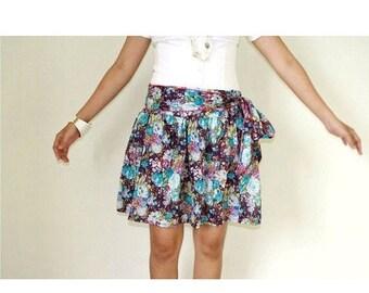 CHRISTMAS SALE Purple Floral Mini Skirt Screenprinted Cotton with Sash Belt
