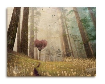 Follow the Path of Your Heart wooden print, inspirational art print, forest, crow, raven, misty, dreamy, magical