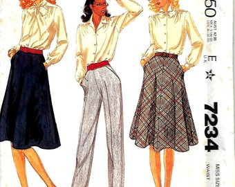 McCall's 7234 Palmer & Pletsch Bias 4 Gored Skirt And Pants Pattern, 10 And 16, UNCUT
