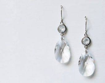 Sterling silver and Swarovski crystal lever-back earrings