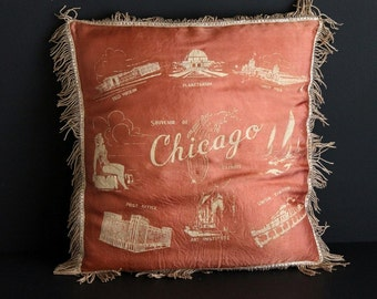 Vintage Satin Fringed Mauve Pillow Cover Souvenir Of Chicago Illinois