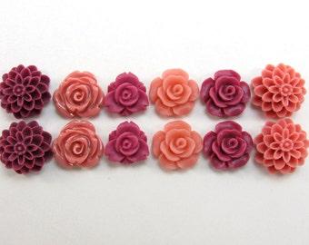 12 pcs Resin Flower Cabochons Assorted Sizes Sampler Pack - Ruddy Colors (12-15mm size range)