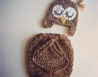Newborn Sleepy Owl Hat & Swaddle Sack // Ready To Ship