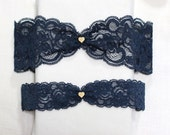 Navy lace garter set, gold tiny heart charm garter set, wedding garter set, lace garter set, bridal garter set
