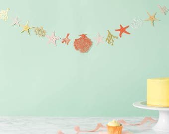 Coral and Starfish garland - Starfish Garland - Beach Party Garland - Under the Sea Theme Garland - Wedding Bunting - Party Decoration