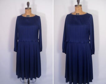 1970s ink blue disco dress • 70s navy pleated party dress • vintage story of love dress