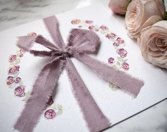 Rose Floral Wedding Invitation, Folded Wedding Invitation, Watercolour Rose Invite