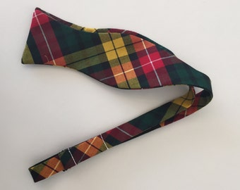 Men and Teen's Fall Plaid in Red, Burgundy, Green, Yellow, Gold Bow Tie