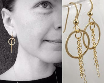 "Circle Tassel Earrings- 14k Yellow Gold Filled - Subtle Hammered Texture - ""Sunbeam"" Earrings"