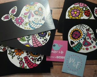SALE: Geek Megamix, Whalepunk, This is Halloween or Sugar Whale Skulls. Quirky illustrated postcards A6 set of 10 cards several design