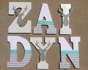 Woodland Nursery Letters, Woodland Letters, Woodland Wooden Initials, Forest Letters, Deer Letters, Woodland Nursery Decor, Huntinb Decor,