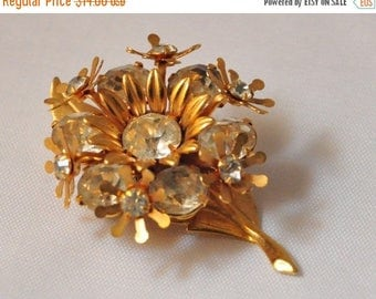 ON SALE Vintage Golden Flower Crystal Brooch - Delicate and Beautiful