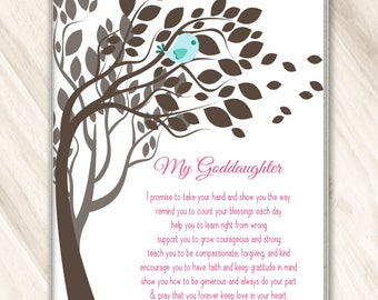 GODDAUGHTER GIFT New Baby Gift for Goddaughter PRINTABLE File Download Gifts from Godmother 8x10 5x7  A4 Poem Wall Art Pink Godchild Gift