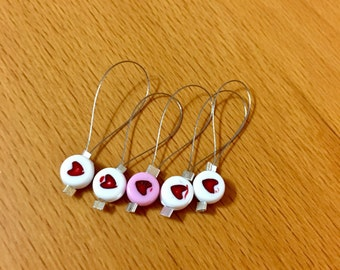Snag free heart knitting stitch markers - Set of 5 each