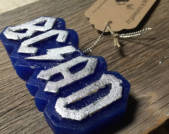 handmade embellished wax ornament for those about to rock
