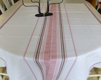 Vintage Swedish woven large linen tablecloth - Nature - pink - brown