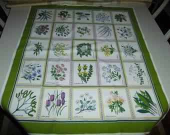 Vintage Swedish printed tablecloth - Landscape flowers - Sverige-Blomster - M-M Dahlin design