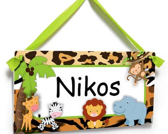 Personalized jungle theme door sign boys bedroom name plaque - P260