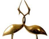 MCM BRASS 2 HERONS Sculpture Heavy Solid Polished Necks Entwined Single Base 12in Minimalist Crane Egret Stork Water Bird Pr Romance Ex Cond