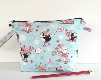 Wedge knitting bag, Wide mouth zippered bag, Crochet project bag - Peppermint Penguins - Small or Medium