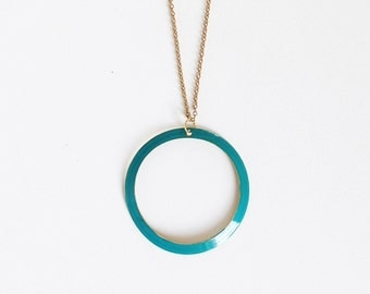 Teal Circle Necklace.              Reversible Geometric Shapes Necklace.     Minimal  Jewelry with a Charitable Donation