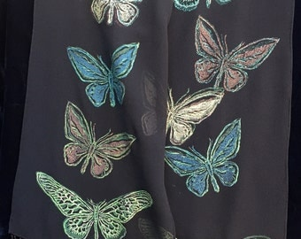 "Unique linocut silk scarf, hand printed original, art to wear, birthday or bridesmaid gift, 10""x 56"": Butterfly Migration"