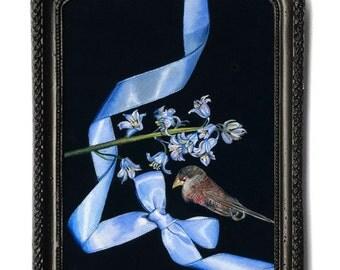 Ribbon series no.1. Acrylic on Italian linen. 13 x 18cm (artwork) in metal black frame