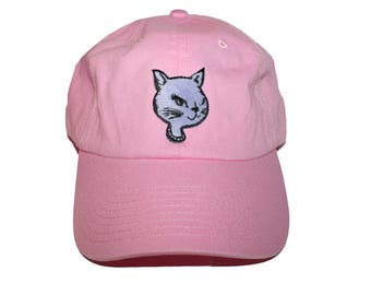 Foxy Cat Pink Cap Vintage patch-kawaii cap-pink hat-funky rock hipster tumblr-baseball cap-70's 80's 90's-kitschy earrings-love factory nyc