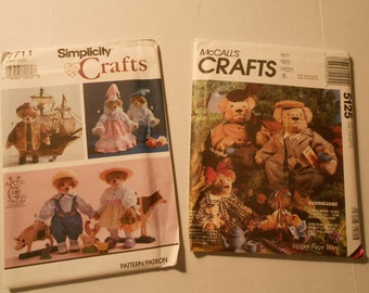 Patterns for bear clothes McCalls 5125  Simplicity 7711   2 sizes uncut unused